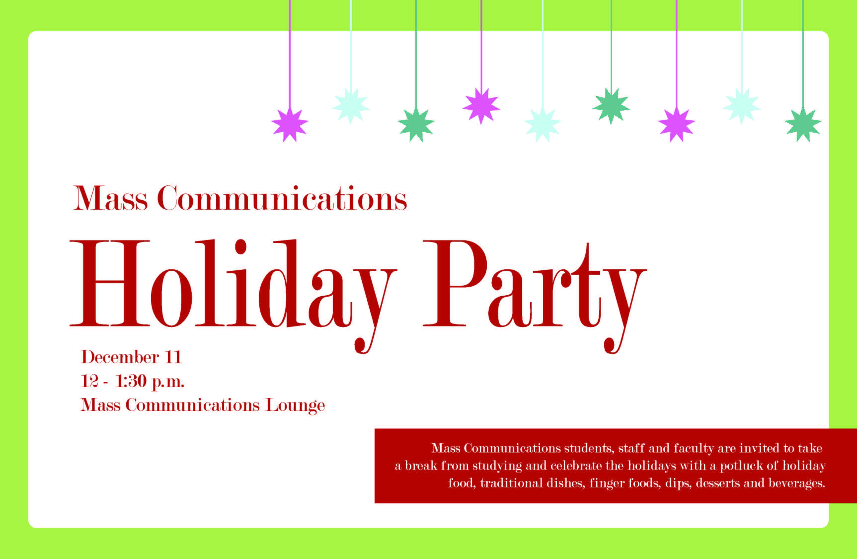 Mass Communications Holiday Party News