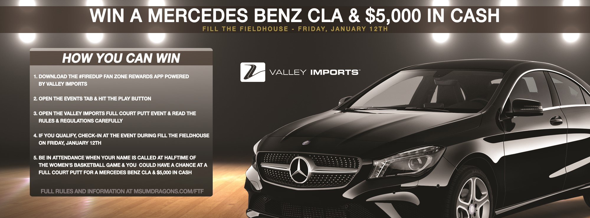 Win a new mercedes benz cla 5 000 cash from valley for Win a mercedes benz