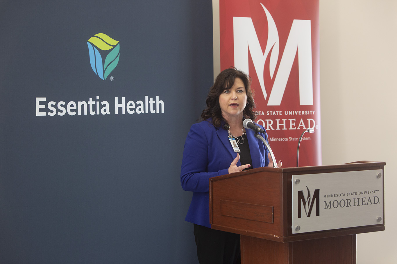 Nicole Christensen, Essentia Health Chief Nursing Officer, addresses media at the May 10 news conference announcing the Essentia Health Center for Nursing at MSUM.